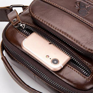 Men's Solid Bag Genuine Leather Crossbody Bag - zonechics