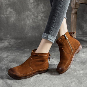 Women Genuine Leather Retro Lace-up Flat Soft Boots - zonechics