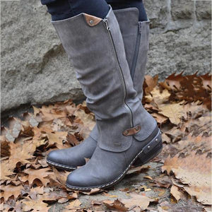 Women's Winter Cowboy Boots Wide Calf With Fur Knee Boots - zonechics
