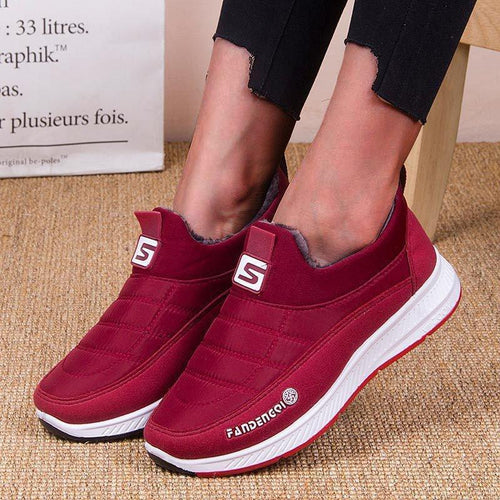 Women Winter Daily Flat Heel Fur Lined Comfy Sneakers - zonechics