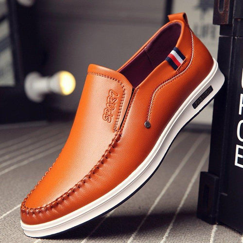 Men Leather Shoes Pure Color Casual Slip Ons - zonechics