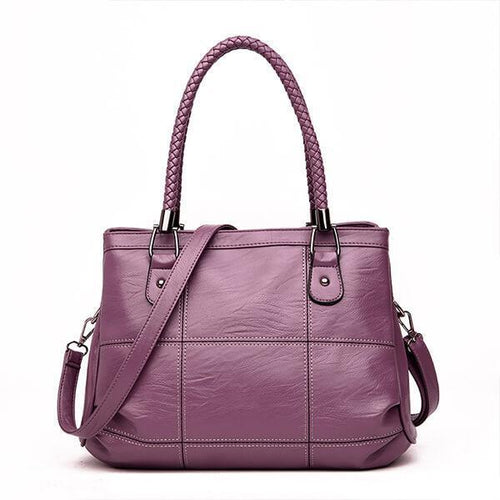 Large Capacity Leather Shoulder Crossbody Handbag - zonechics