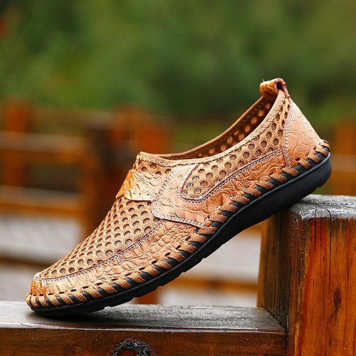 Men Wide Water Shoes Mesh Breathable Leather Beach Shoes - zonechics