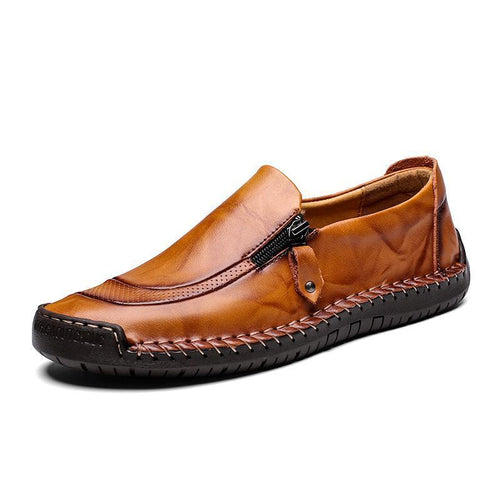 Men's Leather Hand Stitching Zipper Non-Slip Casual Loafers - zonechics