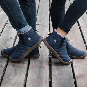 Women's Water-resistant Thickening Faux Fur Lining Winter Ankle Boots Flat - zonechics