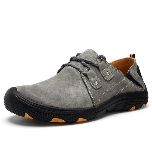 Men Genuine Leather Sneaker Slip-resistant Outdoor Casual Hiking Shoes - zonechics