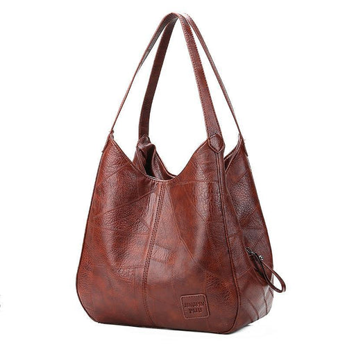 Women Large Capacity Stitching Leather Handbag - zonechics