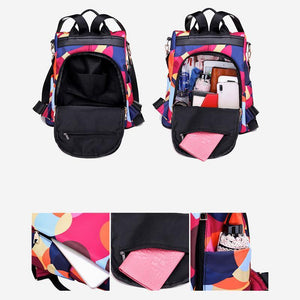 Womens Floral Backpacks Multifunctional Anti-theft Travel Shoulder Bag - zonechics