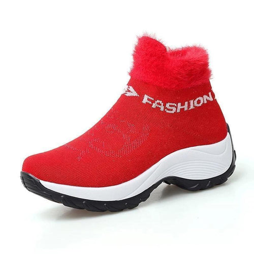 Large Size Women Comfortable Mesh Fur Lining Platform Shoes Casual Boots - zonechics