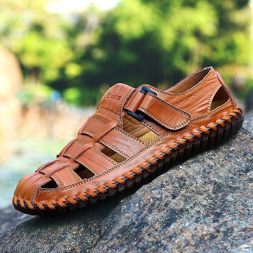 Men's Leather Sandals With Closed Toe Handmade Casual For Summer - zonechics