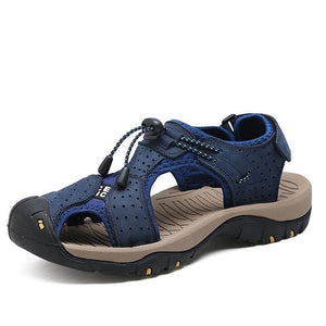Mens Closed Toe Sandals Outdoor Breathable Leather Sandal Shoes - zonechics