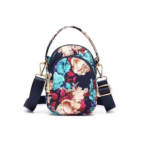 Floral Zipper Handbag Crossbody Phone Bag - zonechics