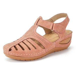 Women Sandals Hollow Out Lightweight Hook Loop Platform Sandals - zonechics