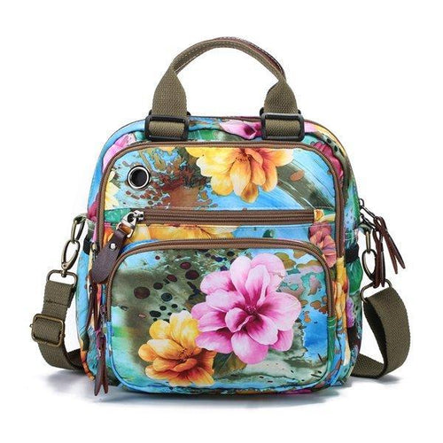 Leisure Style Outdoor Flower Pattern Shoulder Bag Backpack - zonechics