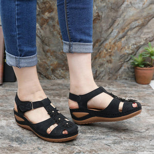 Women's Wedge Sandals With Flower Hook Loop Closed Toe Sandals - zonechics