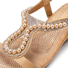 Load image into Gallery viewer, Women Soft Pearl Rhinestone Elastic Wedges Sandals - zonechics
