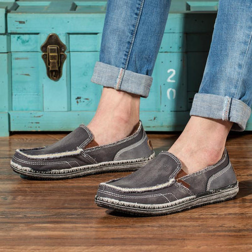 Men's Canvas Casual Shoes Slip-on Demin Loafers - zonechics