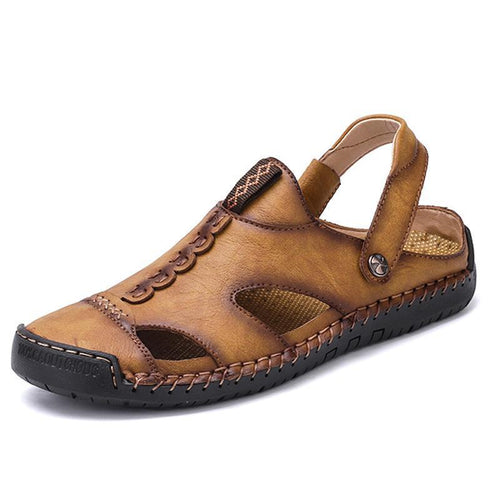 Men's Leather Sandals Large Size Beach Shoes Slippers - zonechics