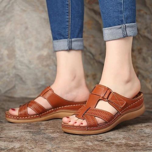 Women's Wedge Sandals Summer Open Toe Hook Loop Sandals - zonechics