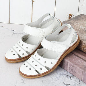 Womens Sandals Leather Hollow Out Hook Loop Casual Flat Sandals - zonechics