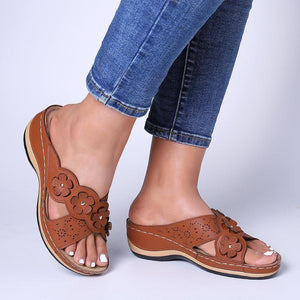 Women's Wedge Sandals With Flower Cross Hollow Sandal Slippers - zonechics