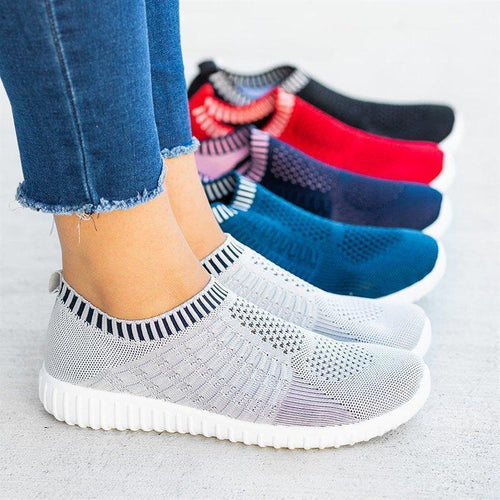 Women's Plus Size Sneakers Breathable Mesh Soft Athletic Shoes - zonechics