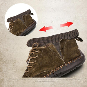 Men Hand Stitching Warm Plush Lining Portable Ankle Boots - zonechics
