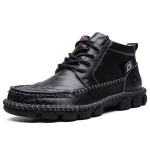 Men's Hand Stitching Pure Color Outdoor Ankle Boots - zonechics