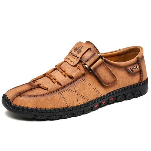 Men's Leather Shoes Breathable Slip-on Casual Shoes - zonechics