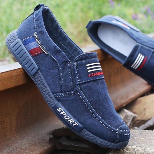 Men's Canvas Casual Shoes Soft Slip-on Flat Shoes - zonechics