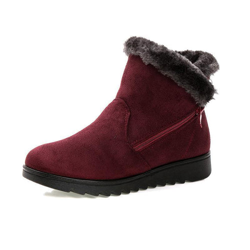 Women's Waterproof Snow Boots Warm Fur Ankle Boots - zonechics