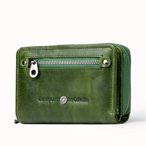 Genuine Leather Two Fold Multi-function Short Wallet - zonechics