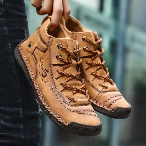 Men Hand Stitching Vintage Leather Lace Up Soft Ankle Boots - zonechics