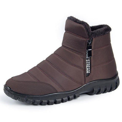 Men's Warm Fur Lining Waterproof Outdoor Winter Non-Slip Snow Booties - zonechics