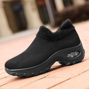 Women fashion ladies large size warm cotton wedge sneakers - zonechics