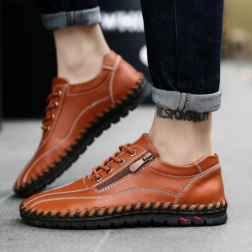 Large Size Men Hand Stitching Side Zipper Casual Leather Shoes - zonechics