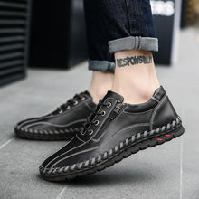 Load image into Gallery viewer, Large Size Men Hand Stitching Side Zipper Casual Leather Shoes - zonechics