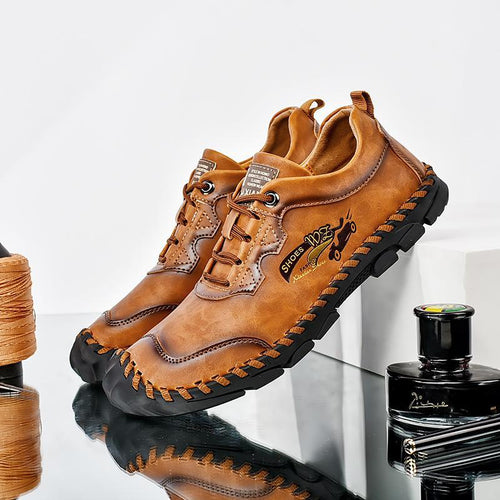 Men Hand Stitching Outdoor Toe Protective Slip Resistant Cow Leather Shoes - zonechics
