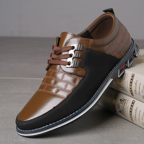 Men Leather Metal Decoration Non Slip Casual Shoes - zonechics