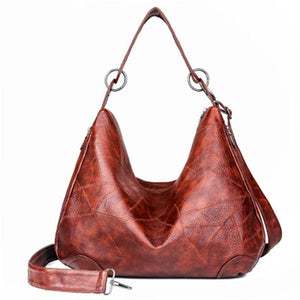 Large Capacity Solid Color Vintage Shoulder Bag - zonechics