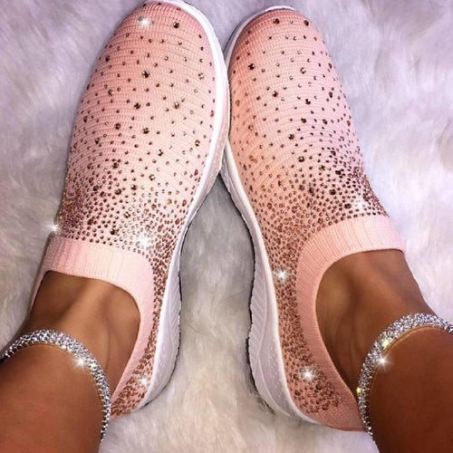 Women Rhinestone Sneakers Breathable Daily Casual Shoes - zonechics