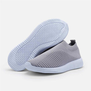 Plus Size Women Breathable Jackeline Slip On Fly-knit Fabric Sneakers - zonechics