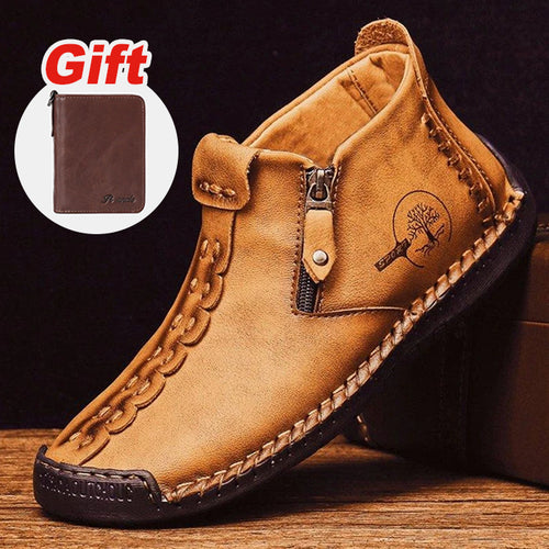 Men Hand Stitching Leather Non Slip Side Zipper Casual Boots (Free Gift-Brown Leather Wallet will deliver with the order directly)