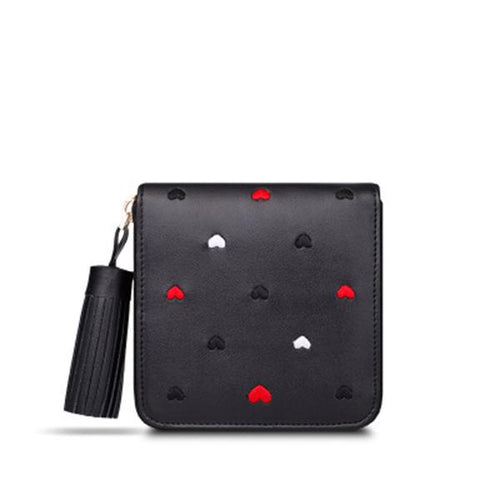 Genuine Leather Embroidery Tassel Wallet - zonechics