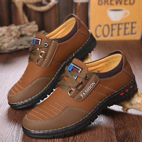 Men Leather Shoes Comfortable Lace Up Casual Shoes - zonechics