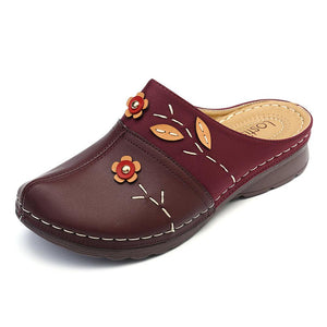 Womens Sandals Floral Stitching Comfort Clogs Flat Sandals - zonechics