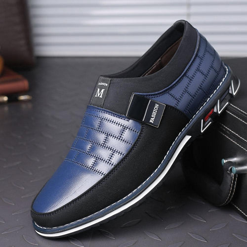 Men Leather Stitching Slip On Metal Decoration Non Slip Casual Loafers - zonechics