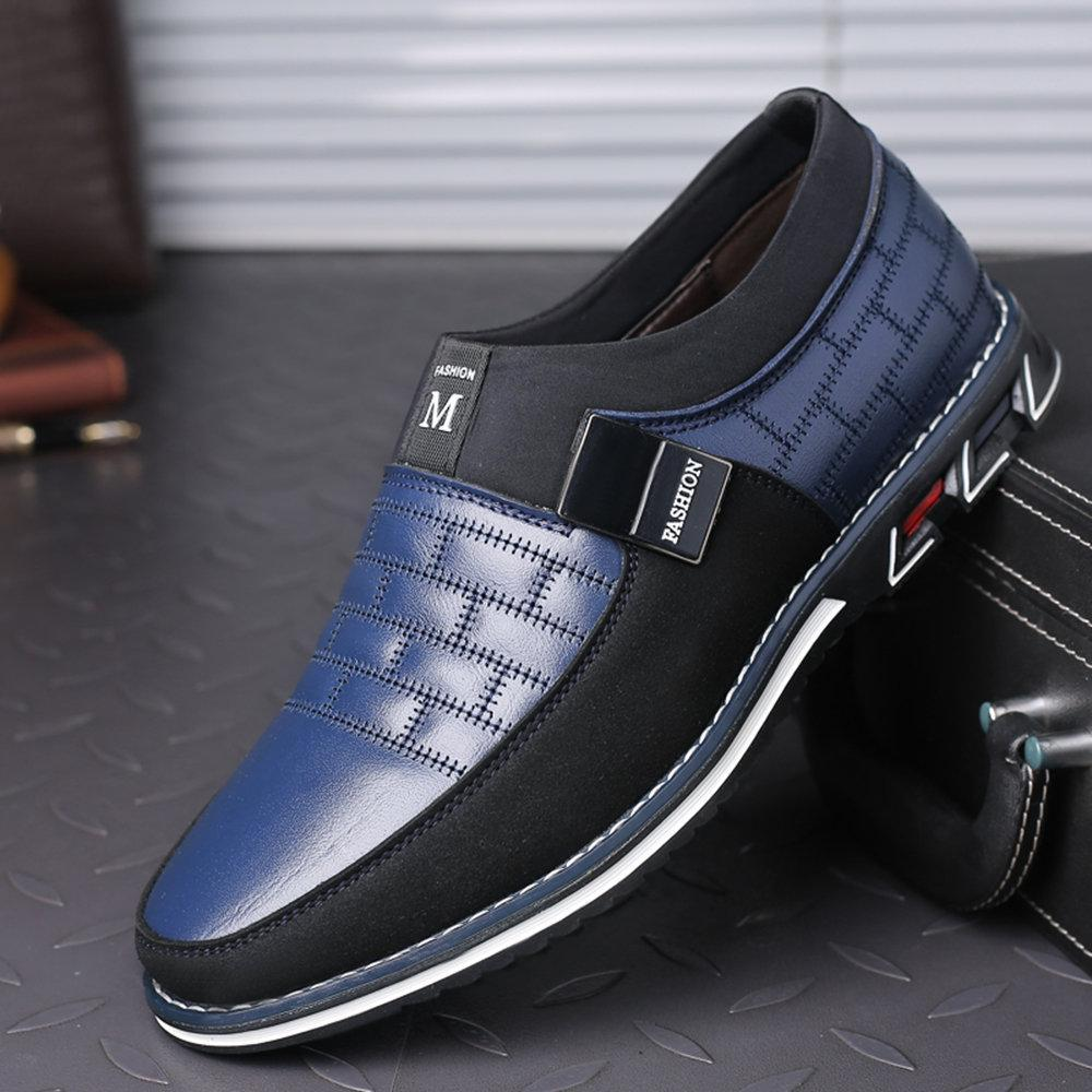 Men Leather Metal Decoration Casual Loafers - zonechics