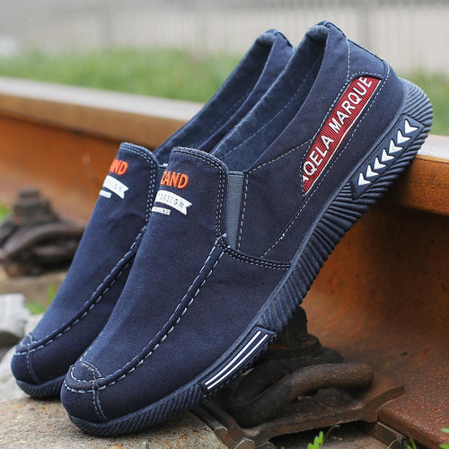 Men Canvas Casual Shoes Low Top Comfy Slip-on Shoes - zonechics