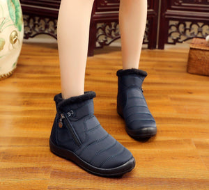 Women's Winter Warm Thick Plush Tarpaulin Waterproof Side Zipper Solid Color Non-Slip Boots - zonechics